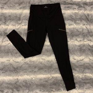 Athleta Black Leggings with Zipper Accent size M